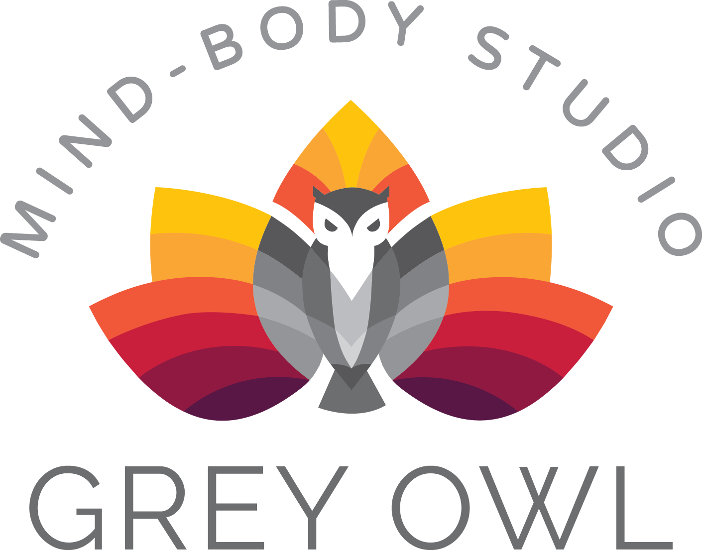 Seeking hipster, modern, minimal line owl logo with grey and gradient colors