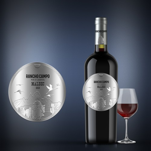Silver embossed label for Argentinian wine
