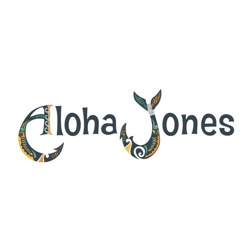 Hawaiian or Island themed logo for restaurant / apparel brand Aloha Jones