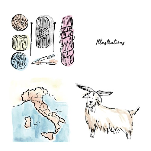 Hand drawn yarn knitting related illustrations