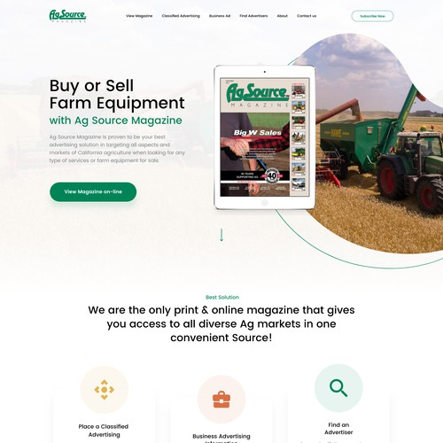 Web Design for AG Source Magazine - Agricolture industry website