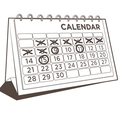 calendar one color illustrations