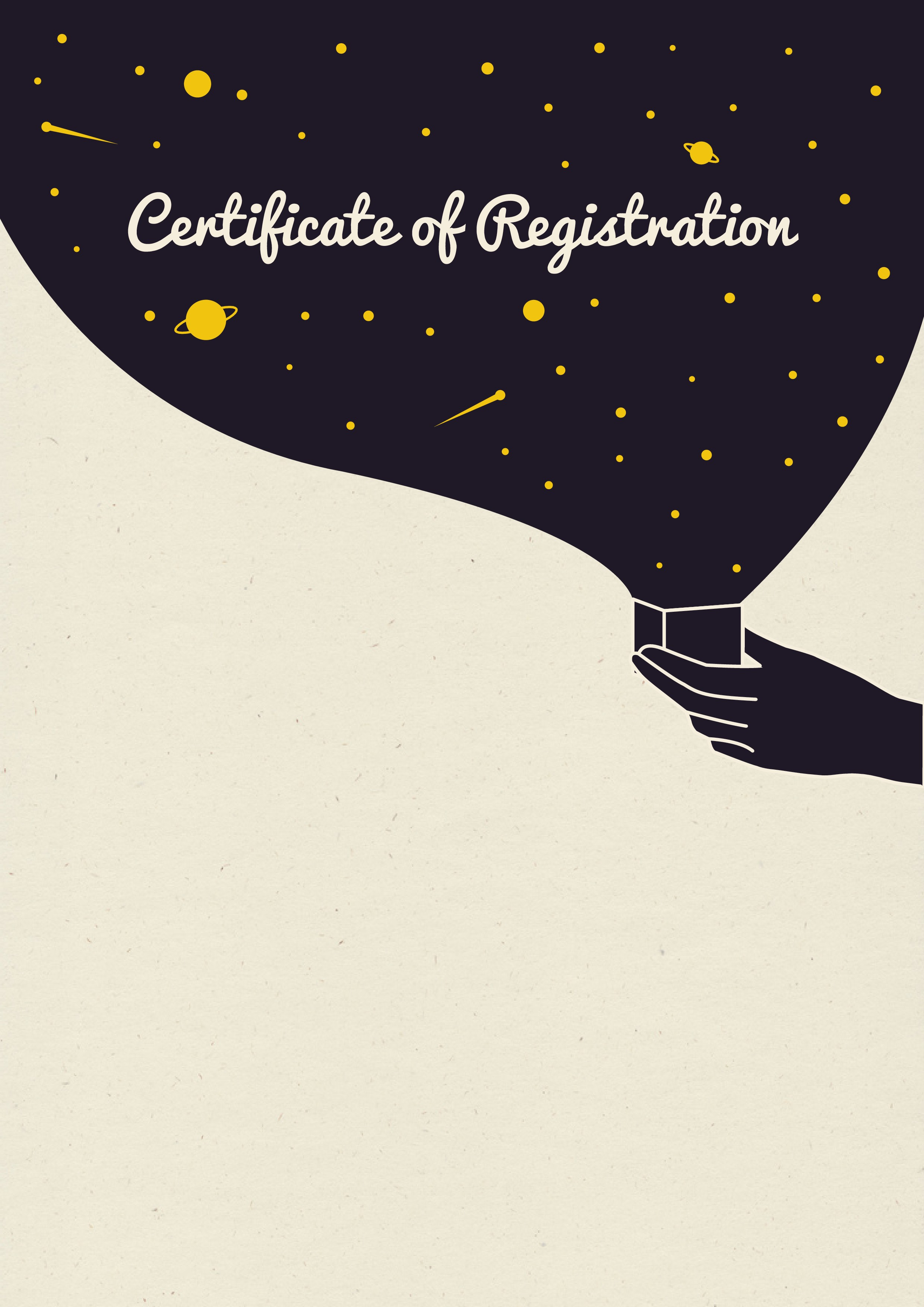 Create a stunning space themed certificate template for Interstellar Registry