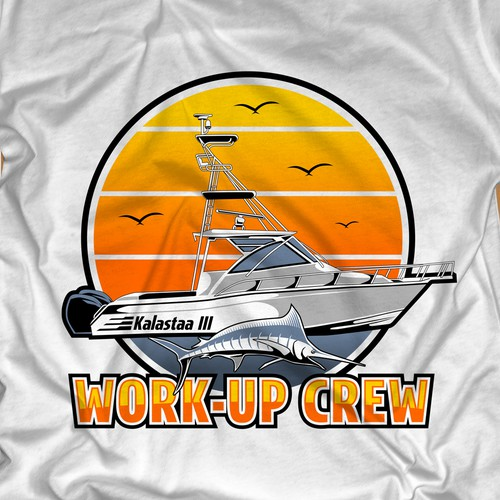 Design an old school style t-shirt for the crew of a soon to be launched fishing boat