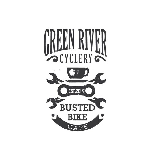 Create a t-shirt worthy logo design for our bike cafe, a trendy bike shop