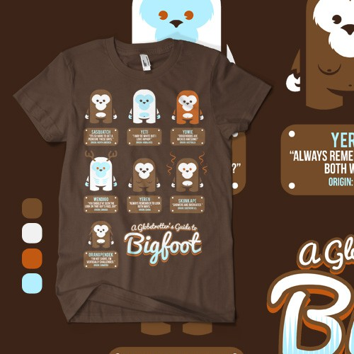 Bigfoot Comparison Infographic-style tee design