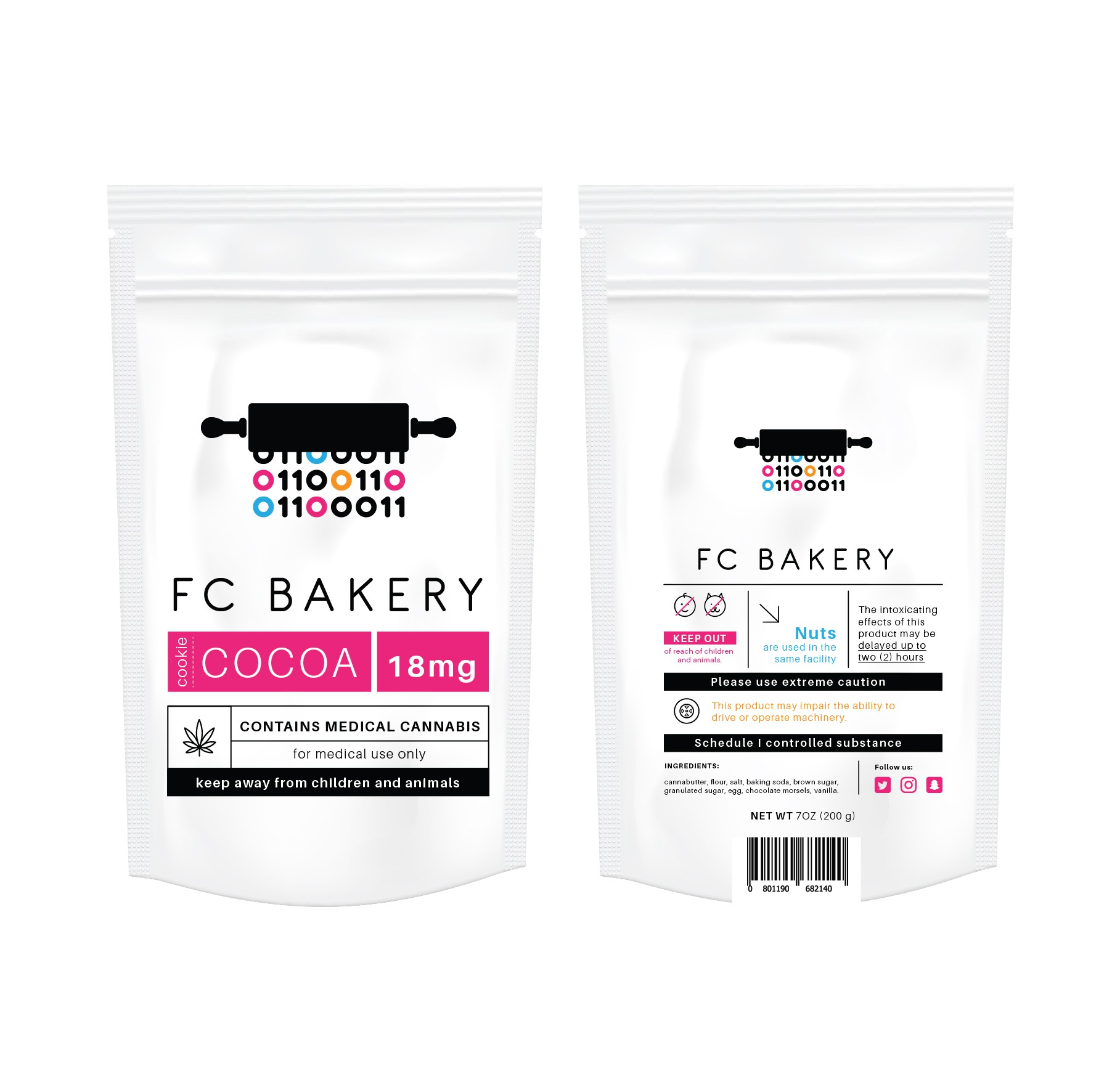 Create a professional food label for an innovative bakery.