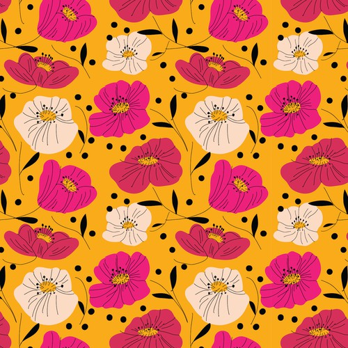 Mustard Floral Print for Swimwear Fabric