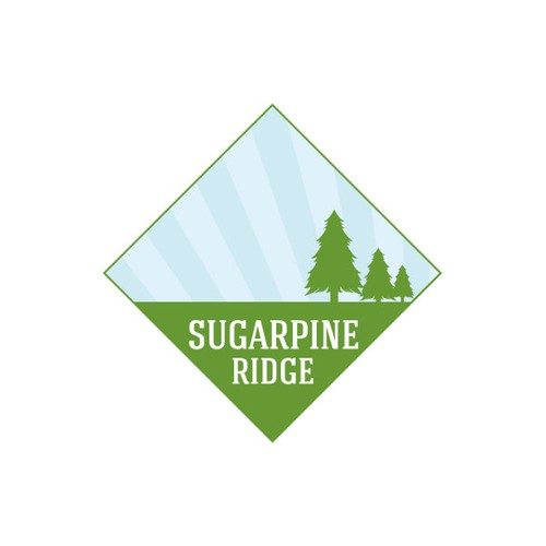 create a beauitful mountain and pine tree logo for a peaceful resort