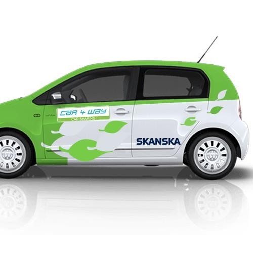 car wrap design for Skanska