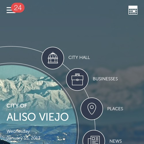 Mobile app home screen that will connect people with local government.