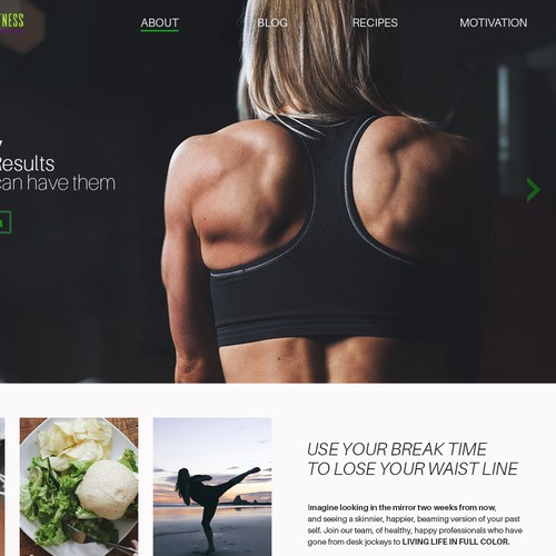Health and fitness hub landing page