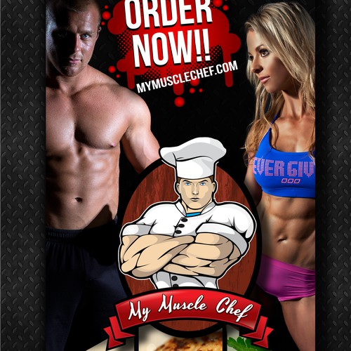 Create an eye catching standing banner for My Muscle Chef
