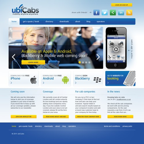 Help ubicabs with a new website design