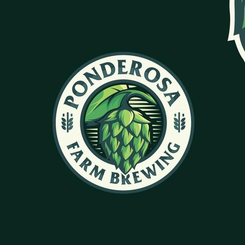 classic but modern logo for Ponderosa Farm Brewing