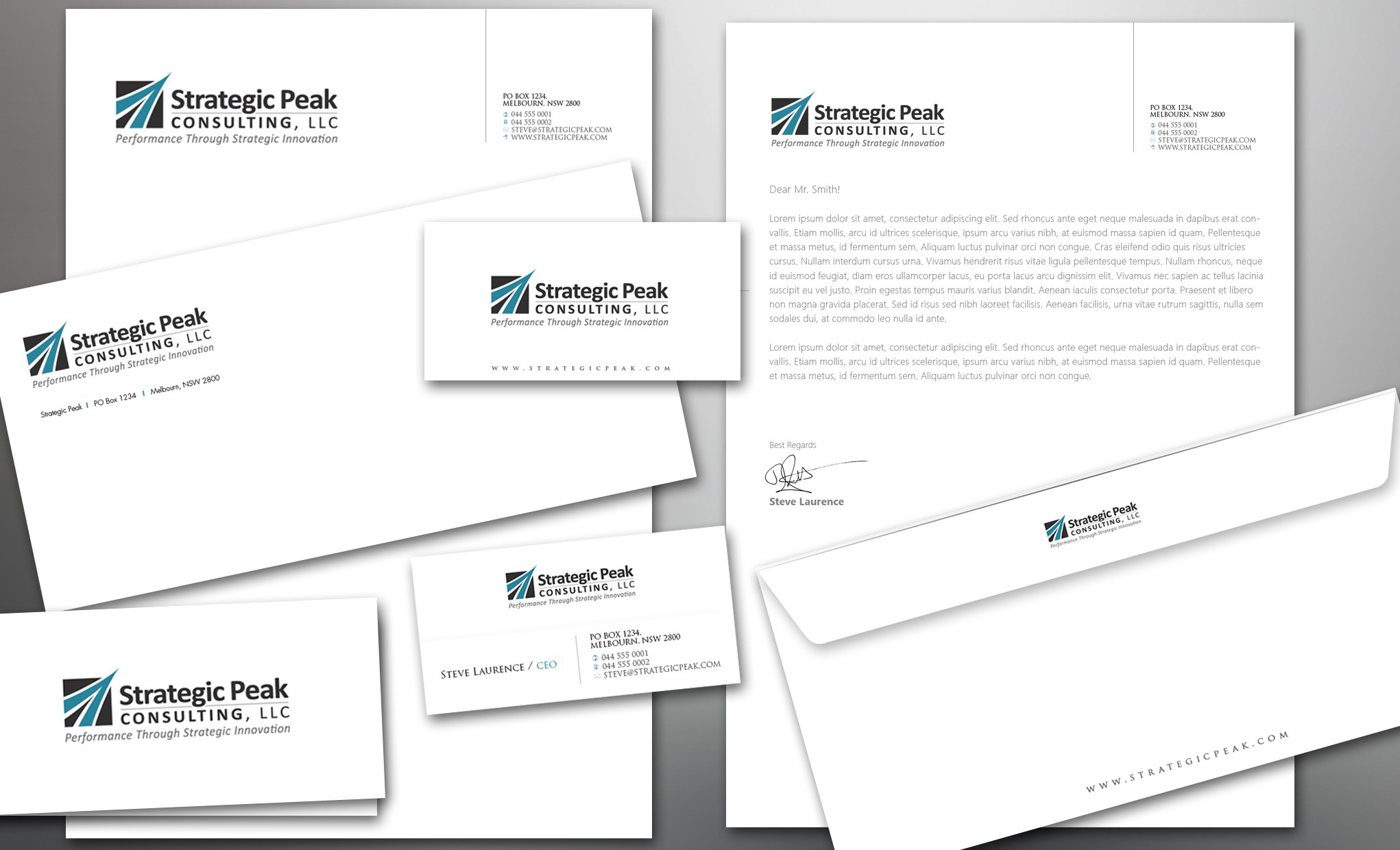 New stationery wanted for Strategic Peak Consulting, LLC.  Logo attached for idea generation