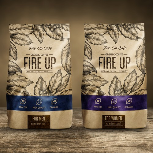 Packaging design for Fire Up Coffee