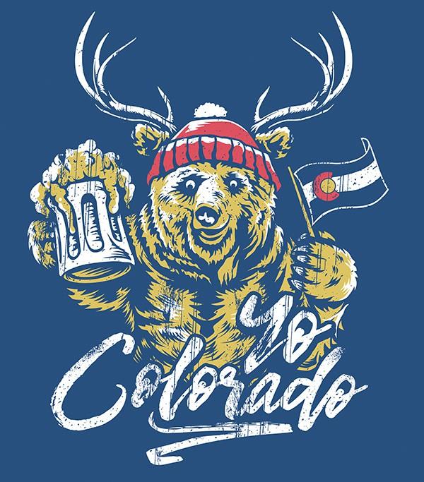 Your Best Illustration Colorado Beer Tee!!  Bear + Deer = BEER?!