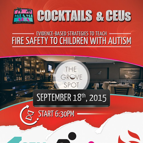 """Flyer Design for MiABA event is called """"Cocktails and CEUs"""""""