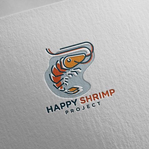 Happy Shrimp logo design concept
