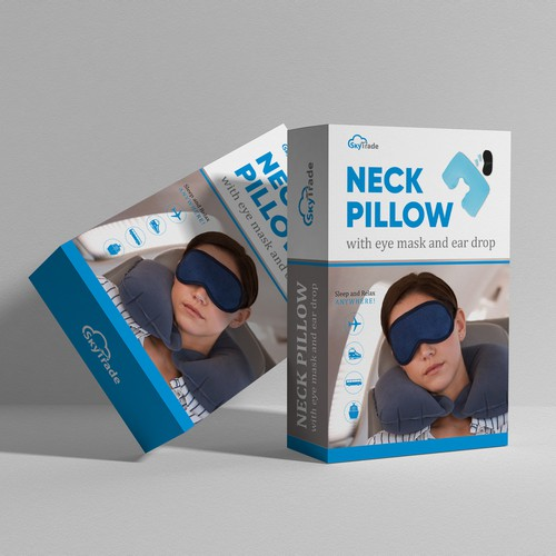 Box design for neck pillow set