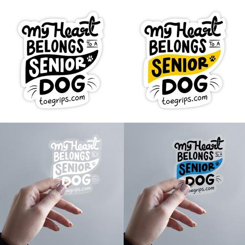 Sticker design for senior dog lovers