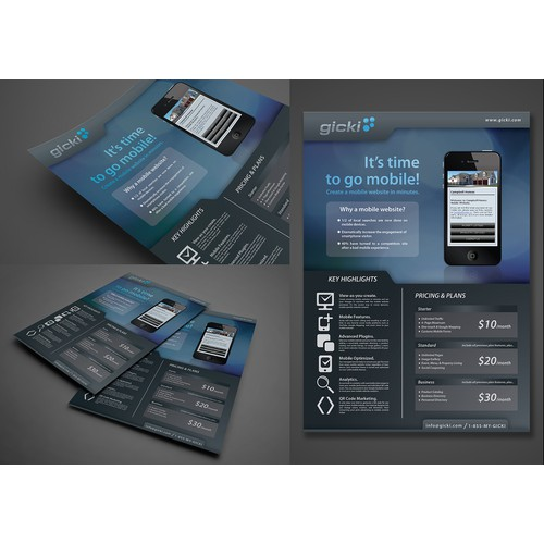 Gicki needs a new flyer advertising their mobile website builder