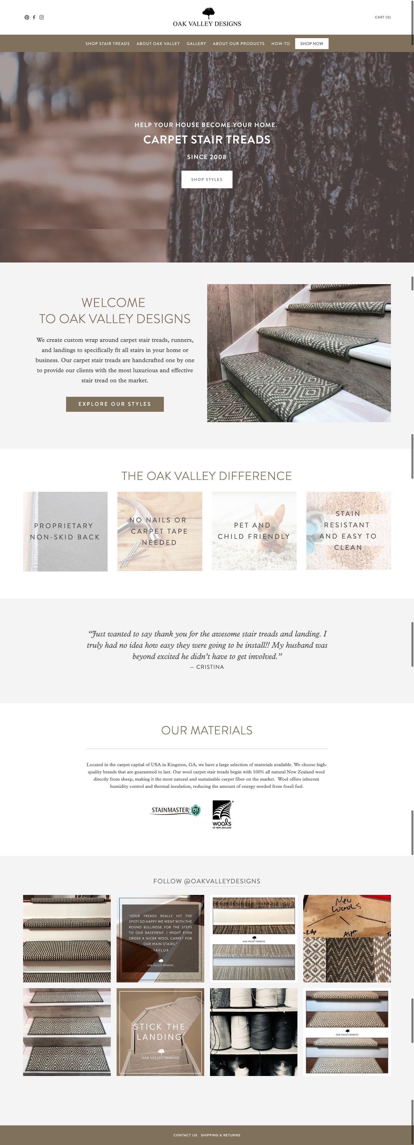 Oak Valley Designs - Website Upgrade