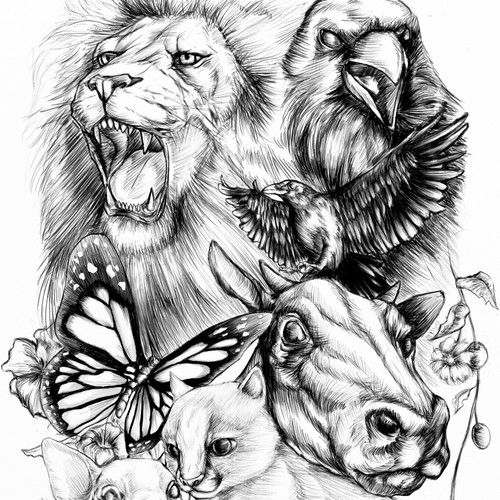 Animals tattoo sleeve art