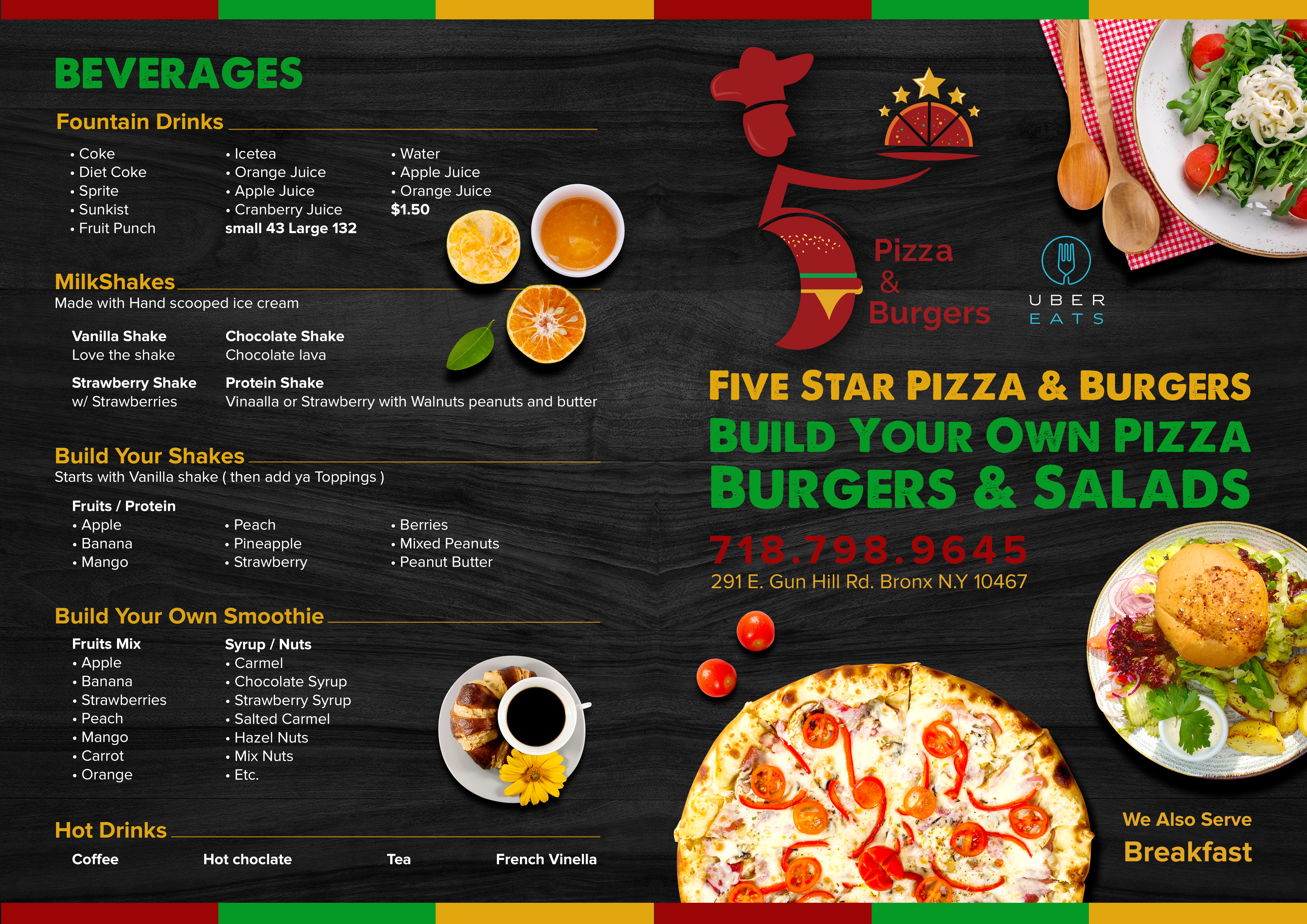 Menu for 5 Star Pizza n Burgers ( sample provided )