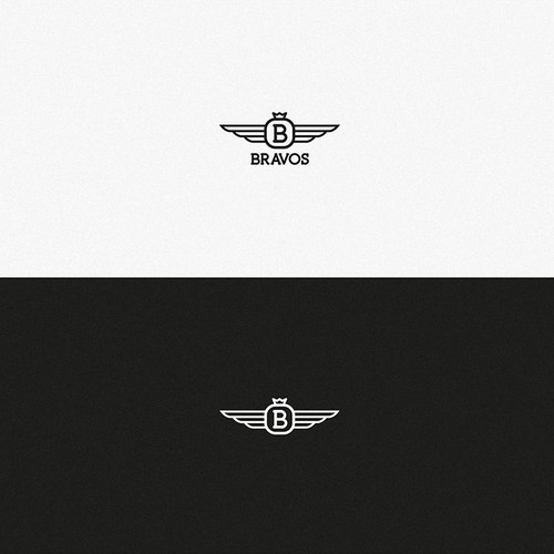 B badge logo + Wings