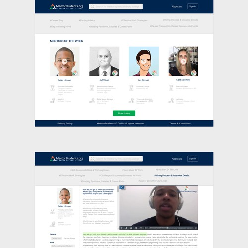 Redesign of two pages for MentorStudents.org