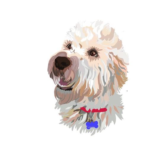 Illustration of a Wheaten Terrier, for sticker.