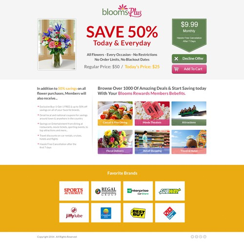 Redesign existing landing page for Blooms Plus to help our customerssave money!