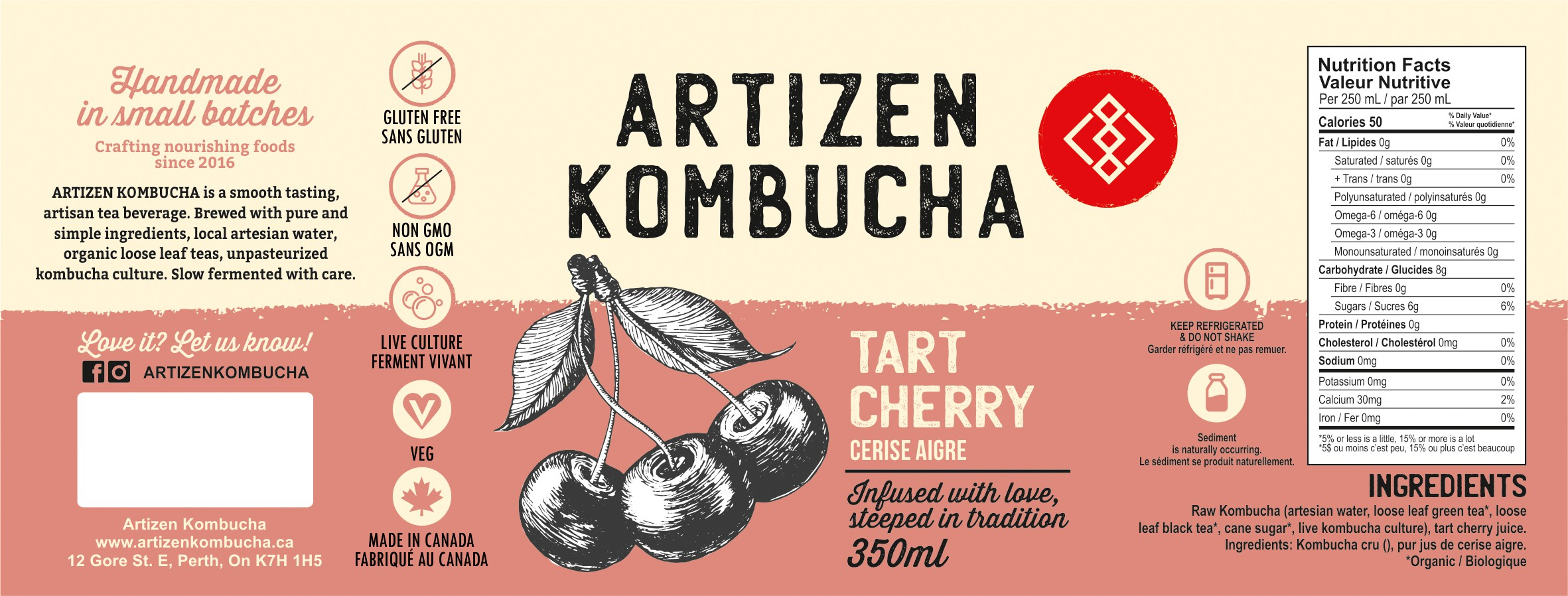 Simple labels with a hint of illustration for Artizen kombucha