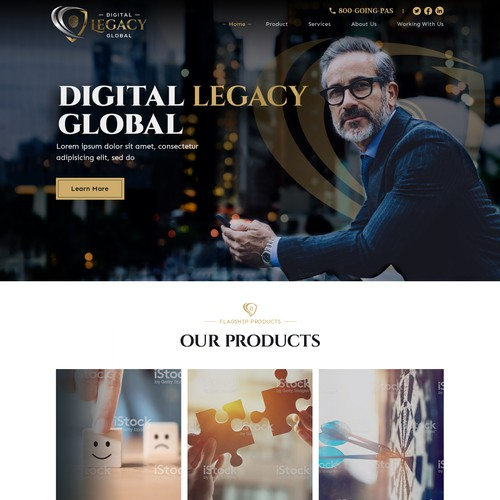 "Website design concept for ""Digital Legacy Global"" financial firm"