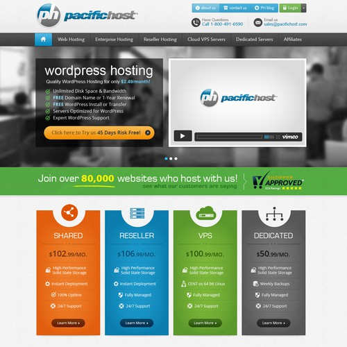 Design the next Homepage for PacificHost