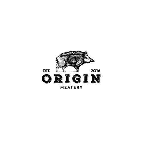 Vintage bold logo for meatery