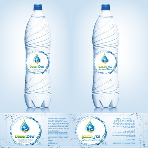 Eye-catching label for a new kind of water