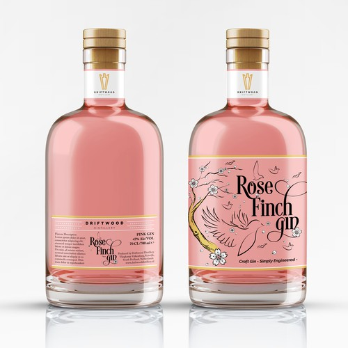 Pink Gin Label Design - Rose Finch Gin by Driftwood Distillery