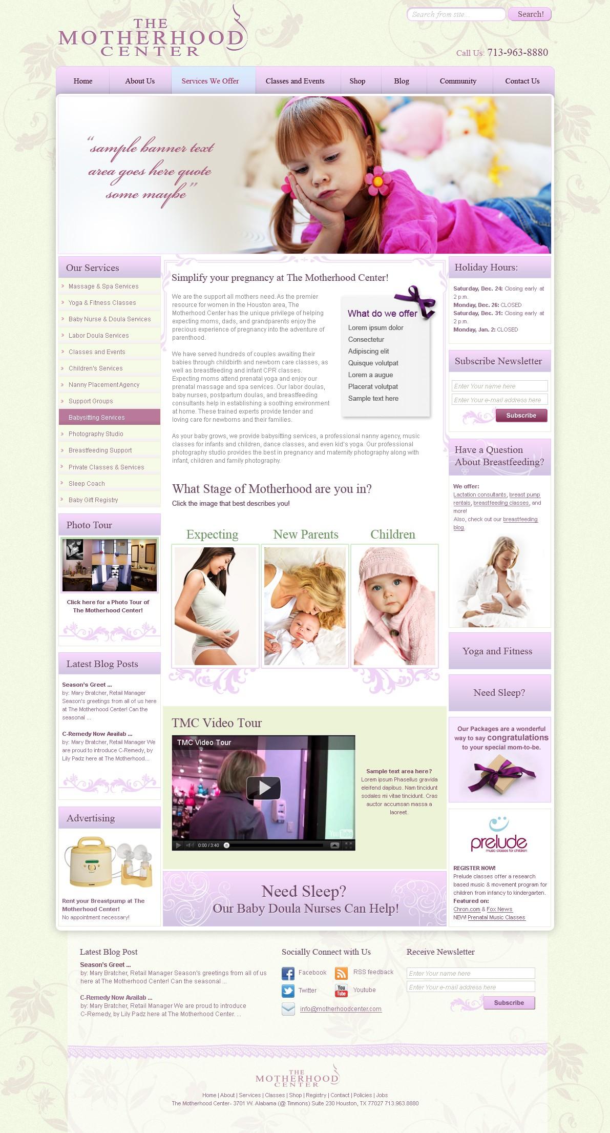 The Motherhood Center needs a new website design