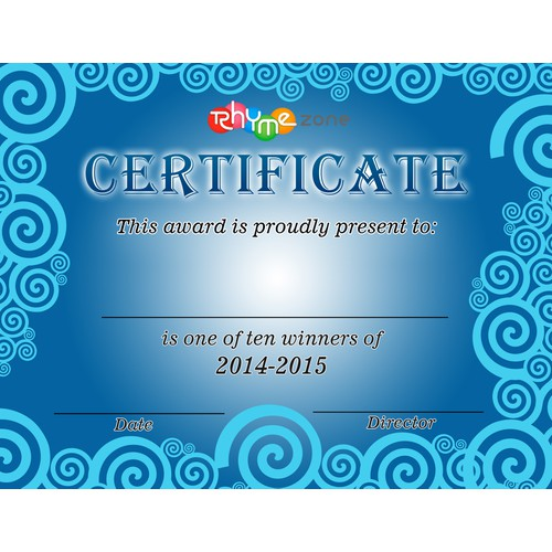 Create a beautiful award certificate for the RhymeZone Poetry Prize
