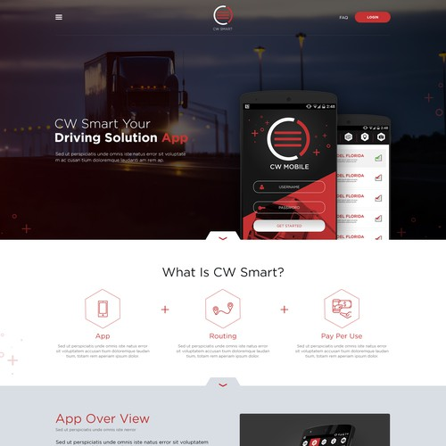 Landing page design for a logistic app