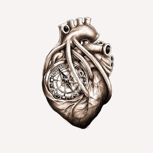 Greyscale Drawing of Da Vinci Anatomical Heart w/ Nautical Compass for Tattoo