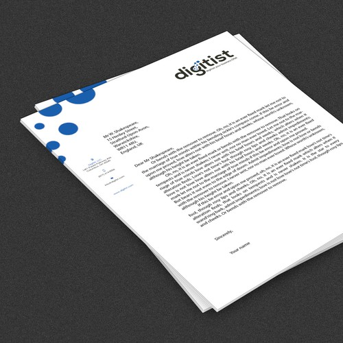 Create letterhead for business technology company Digitist