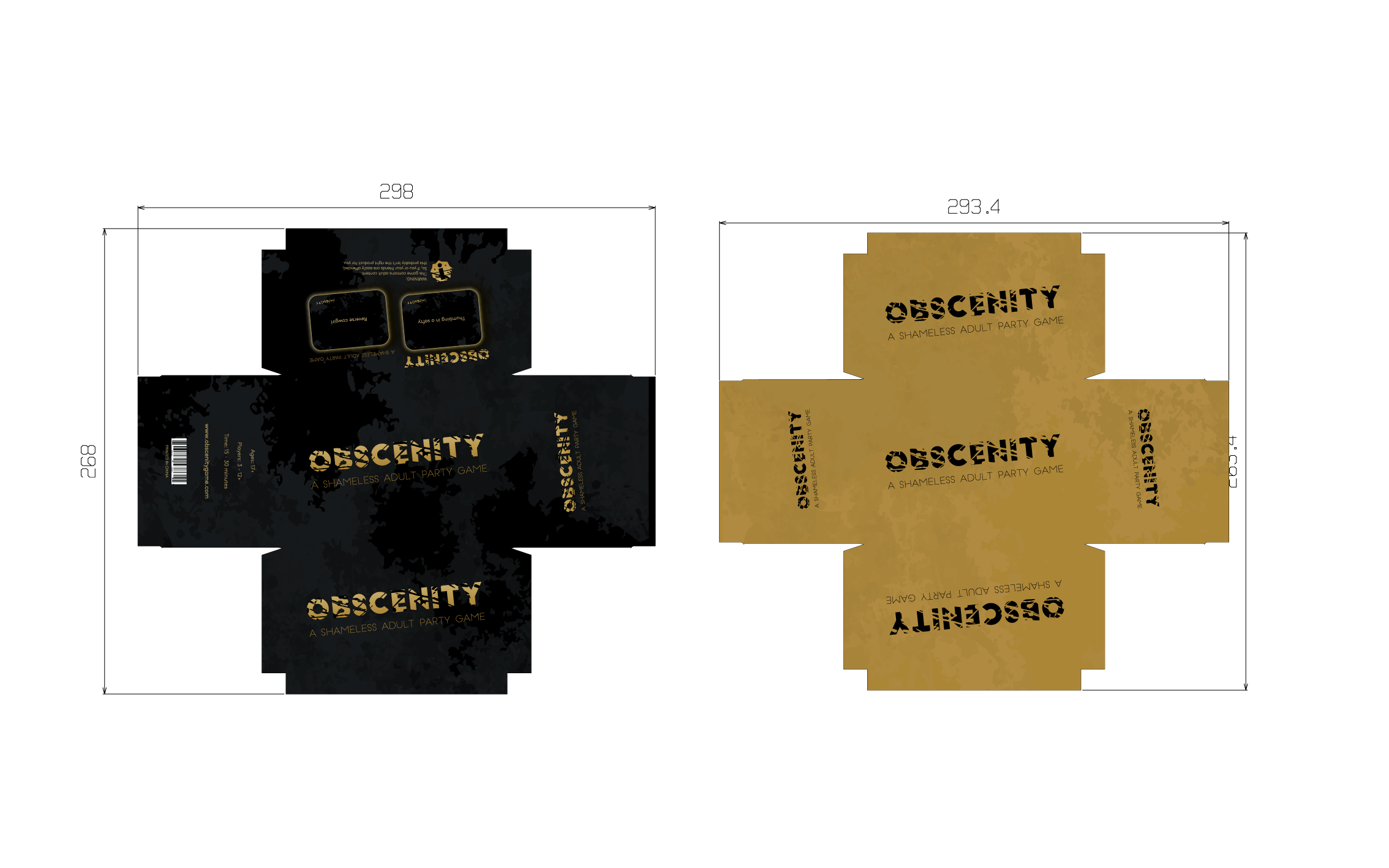 Create a vibrant, eye-catching design for Obscenity adult card game