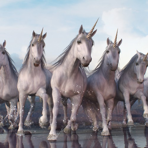 Realistic fantasy illustration: unicorns