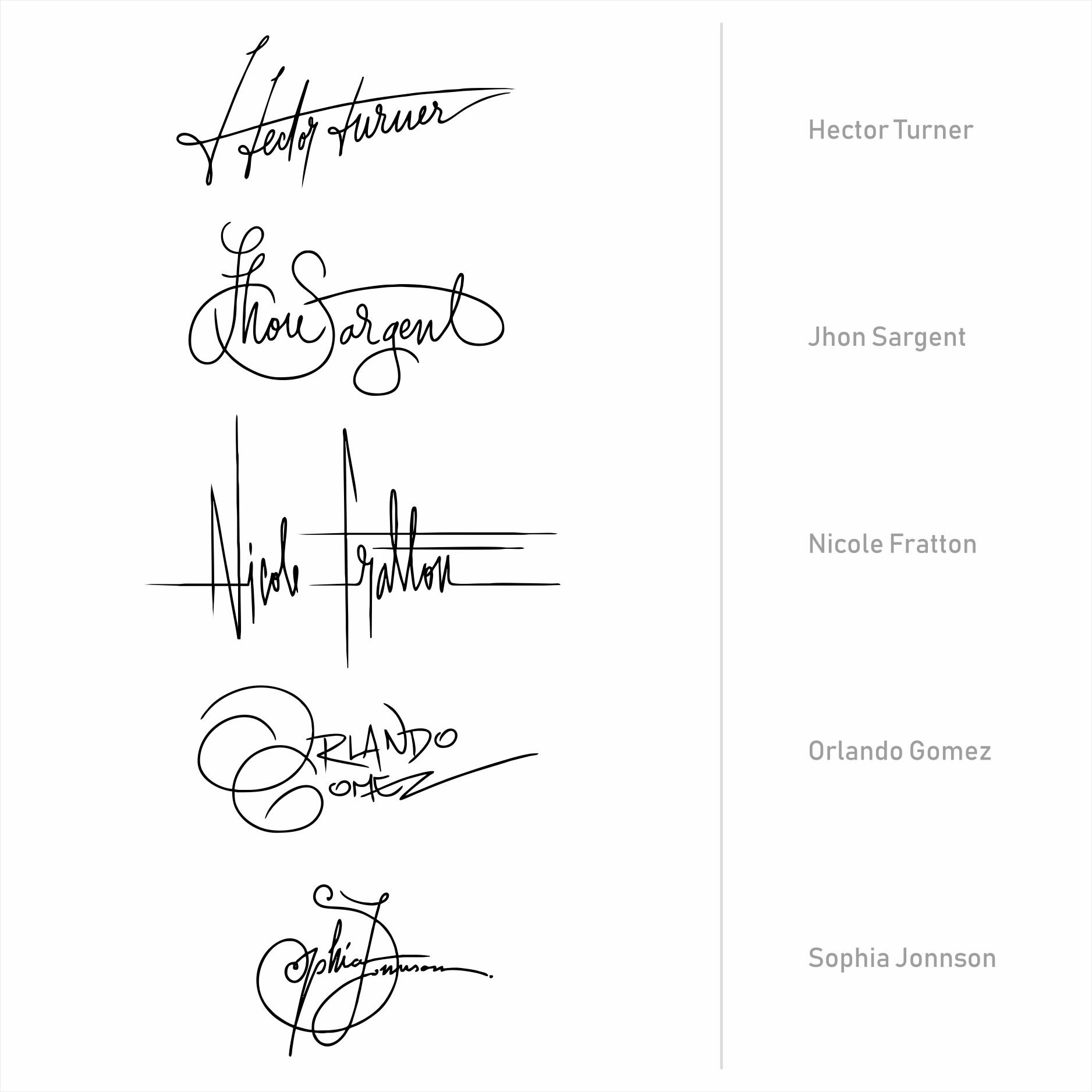 Set of 5 Handwritten, Monoline Signatures