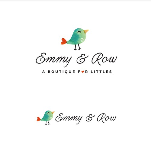 cute bird, watercolor logo for children boutique