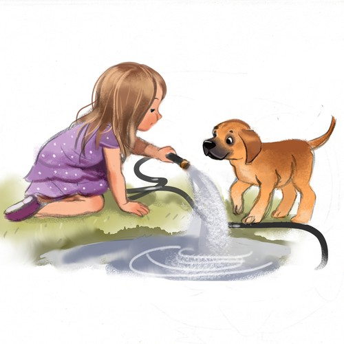A girl and her puppy:  a children's book illustration proposal.